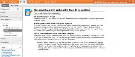 Webmaster Tools in your Google Analytics