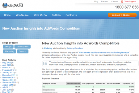 New Auction Insights into AdWords Competitors