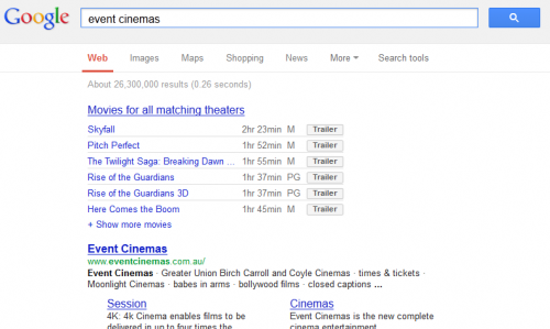 Movie Times on Google