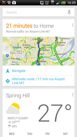 Google Now's travel information