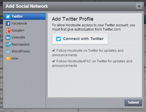 Adding a Social Network to Hootsuite